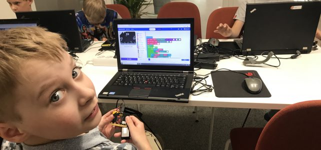 Boy is codin with Microbit